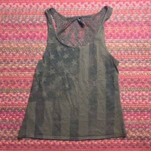 ARMY GREEN AMERICAN FLAG TANK
